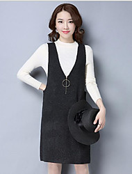 Women's Casual/Daily Long Vest,Solid Deep V Sleeveless Cotton Others Spring Medium Micro-elastic