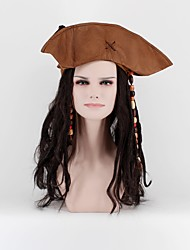 cheap -Jack Sparro Pirate Wigs With Hats and Hair Accessories Beads Black Long Faux Locs Wigs