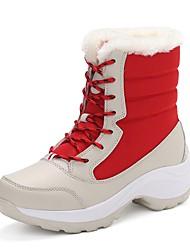 baratos -Mulheres Sapatos Tecido Inverno Conforto Botas de Neve Forro de peles Botas Sem Salto Ponta Redonda Dedo Fechado Botas Cano Médio Rendado