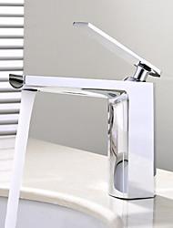Недорогие -Настольная установка Керамический клапан Одной ручкой одно отверстие Хром , Ванная раковина кран