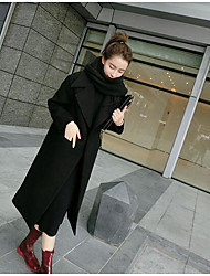 Women's Going out Casual/Daily Simple Winter Coat,Solid Shawl Lapel Long Sleeve Long Cotton