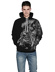 Men Realistic 3d Digital Lion Print Pullover Sports Outdoor Active Hoodie Hooded Inelastic Polyester Long Sleeve Spring Fall Black