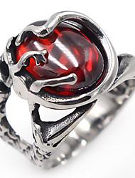 Femme Rubis synthétique Classique Elegant Cristal Acier inoxydable Forme Ovale Bijoux Pour Quotidien Décontracté
