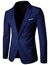 Men's Business Coat Party Work Simple Fall Blazer Solid Notch Lapel Long Sleeve Regular Cotton Polyester Black/Light Grey/Navy Blue