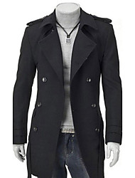 Men's Daily Simple Casual Winter Coat,Solid Stand Long Sleeve Regular Nylon