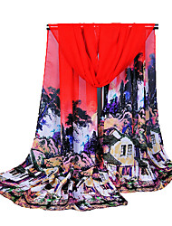 Women's Chiffon Fashion Cute Floral Chinese Style Print  Scarf  160*50cm