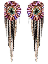 Women's Stud Earrings Tassel Handmade Oversized Bohemian Crystal Round Flower Jewelry For Stage Holiday Going out