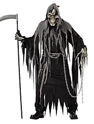 Grim Reaper Ghost Cosplay Costumes Halloween Props Skeleton/Skull Cosplay Festival/Holiday Halloween Costumes Black Solid Color Leotard Dress