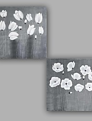 Peint à la main A fleurs/Botanique Luxe Abstrait Classique & Intemporel Chic & Moderne Moderne Art Déco/Rétro Spéciale Deux Panneaux Toile