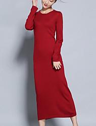 abordables -Femme Trapèze Tricot Robe Couleur Pleine Taille Haute