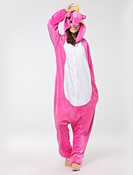 Kigurumi Pajamas Flying Horse Unicorn Onesie Pajamas Costume Flannel Fabric Pink Cosplay For Adults' Animal Sleepwear Cartoon Halloween