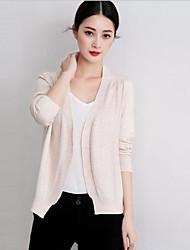 Standard Cardigan Da donna-Casual Tinta unita A V Manica lunga Cotone Estate Medio spessore Elasticizzato