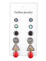 European And American Handmade Handmade Beads Tassels Geometric Oval Earrings