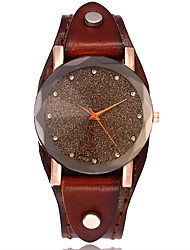XU Women's Vintage Leather Belt Simulated Diamond Casual Bracelet Watch