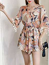 Women's High Rise Going out Holiday Rompers,Boho Wide Leg Floral Floral Summer Fall