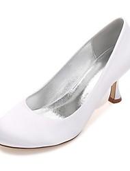 preiswerte -Damen Schuhe Satin Frühling Sommer Komfort Pumps Hochzeit Schuhe Kitten Heel-Absatz Niedriger Heel Stöckelabsatz Runde Zehe für Hochzeit