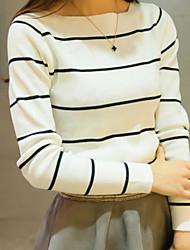 preiswerte -Damen Gestreift Alltag Pullover Langarm Rundhalsausschnitt Frühling Herbst Baumwolle