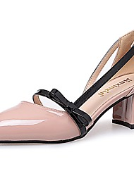 cheap -Women's Sandals Light Soles Fall Winter PU Casual Dress Bowknot Block Heel Blushing Pink Beige Black 1in-1 3/4in