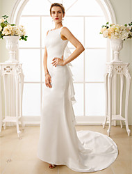 Mermaid / Trumpet Bateau Neck Court Train Satin Wedding Dress with Cascading Ruffles by LAN TING BRIDE®