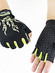 Men's Cotton Nylon Wrist Length Half Finger Soak Off Outdoor Sports Animal Print Spring/Fall Summer Cycling Bike Gloves Black/Green