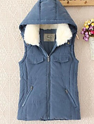 Women's Casual/Daily Simple Fall Winter Vest,Solid Notch Lapel Sleeveless Short Others
