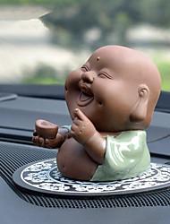 abordables -Diy ornements d'automobile anime de bande dessinée jolie sourire face bouddha voiture pendentif&Ornements en céramique