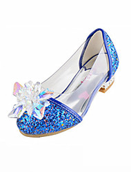 cheap -Girls' Flats Novelty Flower Girl Shoes Comfort Fall Winter Leatherette Casual Dress Sequin Flat Heel Silver Blue Blushing Pink Flat