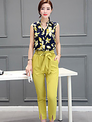 cheap -Women's Daily Casual Summer T-shirt Pant Suits,Print V Neck Sleeveless Silk