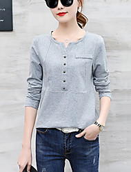 Women's Plus Size Casual/Daily Simple Spring Fall Loose T-shirt Solid Rivets V Neck Long Sleeve Gray /Black /Wine /Navy Blue Medium