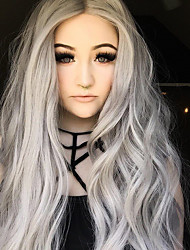 cheap -Synthetic Lace Front Wig Natural Wave Ombre Hair Gray Women's Lace Front Natural Wigs Long Synthetic Hair