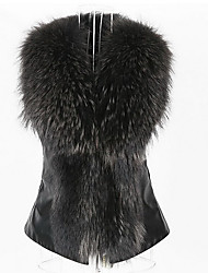 cheap -Women's Daily Street chic Winter Fall Fur Coat,Solid Square Neck Sleeveless Regular Faux Fur