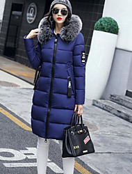 Women's Long Padded Coat,Sexy Simple Cute Going out Casual/Daily Work Solid Print-Cotton Acrylic Polyester Polyester Long Sleeves