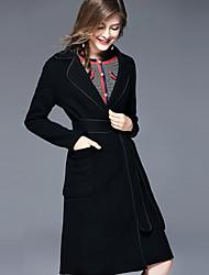 baratos -Mulheres Longo Casaco Fofo Temática Asiática - Sólido Decote V