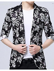 Men's Casual/Daily Active Summer Blazer,Print Color Block Notch Lapel ¾ Sleeve Regular Polyester