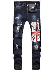 economico -Da uomo A vita medio-alta Romantico Casual Stoffe orientali Anelastico Dritto Taglia piccola Jeans Chino Pantaloni,Con stampe Cotone