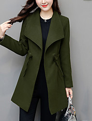 Women's Plus Size Going out Casual/Daily Simple Winter Coat,Solid Shirt Collar Long Sleeve Regular Polyester