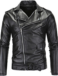cheap -Men's Party Daily Sports Going out Work Street chic Winter Fall Leather Jacket,Solid Color Block Notch Lapel Long Sleeve Regular PU