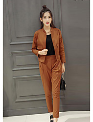 cheap -Women's Work Casual Spring Shirt Pant Suits,Solid Crew Neck Long Sleeve Cotton