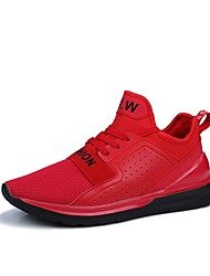 Men's Athletic Shoes Walking Comfort Fabric Spring Fall Athletic Lace-up Flat Heel Ruby Black White Flat