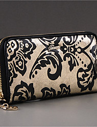 Women Checkbook Wallet Cowhide All Seasons Daily Casual Rectangle Zipper Black