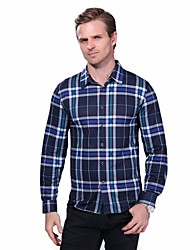 Men's Plus Size Business Casual Slim Plaid Long Sleeve Dress Shirt Cotton Spandex