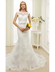 Sereia Ilusão Decote Cauda Corte Renda Tule Vestido de casamento com Laço(s) Faixa / Fita Laço de LAN TING BRIDE®