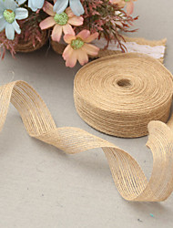 cheap -5M 3.8 cm (1) Natural Jute Burlap Hessian Ribbon with Lace Trims Tape Rustic Wedding Decor Wedding Cake Topper