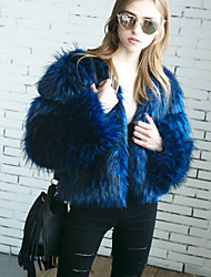 Women's Going out Casual/Daily Work Simple Active Fall Winter Fur Coat Solid Round Neck Long Sleeve Regular Faux Fur Blue/Black S-2XL