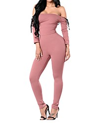 Women's Mid Rise Casual/Daily Jumpsuits,Simple Slim Solid Fall Winter