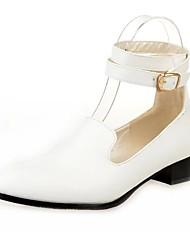 Damen Flache Schuhe T-Riemen PU Frühling Normal Walking Flacher Absatz Weiß Schwarz Braun 5 - 7 cm