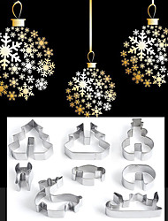 cheap -Christmas Theme 8 PCS / SET 3D Stainless Steel Christmas Scenario Cookie Cutters Metal Cookie Mold Fondant Cutter