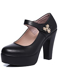 Women's Heel Formal Shoe Spring Fall Real Leather Party & Evening Dress Rhinestone Magic Tape Platform Black 4in-4 3/4in