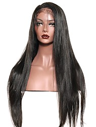 cheap -250% Density Lace Front Human Hair Wigs With Baby Hair For Black Women Straight Indian  Remy Hair Bleached Knots
