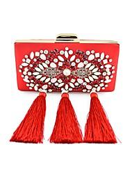 Women Bags All Seasons Silk Shoulder Bag Pearl Crystal/ Rhinestone Flower for Shopping Casual Blue Black Red Blushing Pink